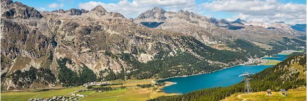 瑞士上恩加丁谷鸟瞰图